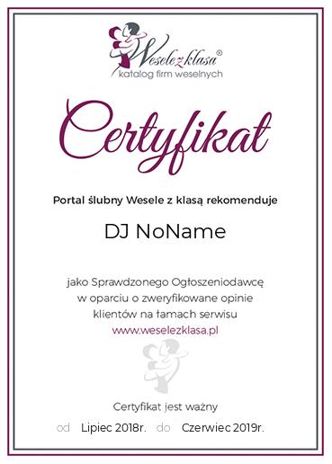 certyfikat DJ NoName