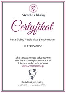 Certyfikat Wesele z klasa